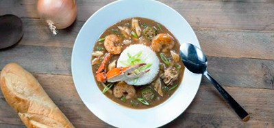 Seafood gumbo with blue crab