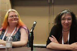 Authors Seanan McGuire and Jacqueline Carey