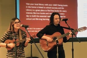 Emily Elizabeth Lazio and Sean R. ­Ferguson perform a song from NYPL Sings! Songs for Our Children
