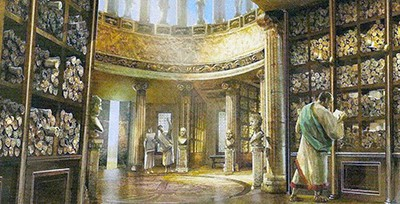 An ancient library of scrolls