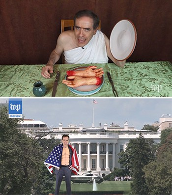 Top: Ron Charles wears a toga and poses with fake severed hands on a plate. Bottom: Charles stands in front of the White House and wears a muscle costume and American flag cape