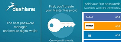 Dashlane password manager opening screen