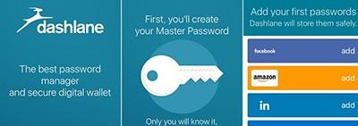 Dashlane password manager opening screen