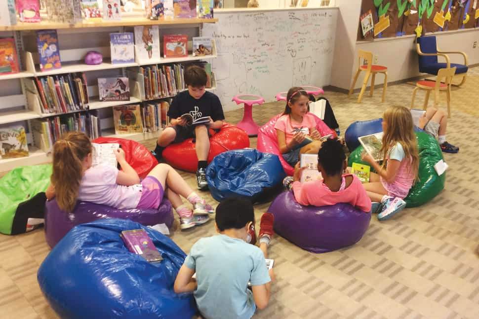 As part of its DIY makeover, Francis W. Parker School in Chicago added beanbag chairs to its library. Photo: Francis W. Parker School