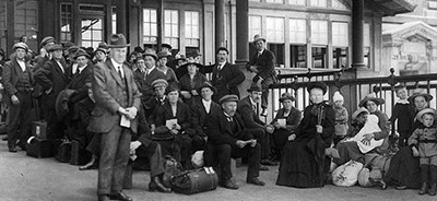 Immigrants awaiting examination, Ellis Island, New York