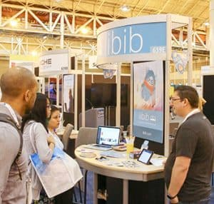 Libib shows off its mobile management system.