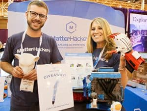 MatterHackers showcased many items produced by 3D printers.