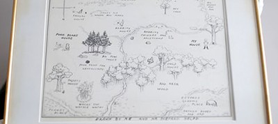 The map of Winnie-the-Pooh's Hundred Acre Wood is littered with spelling errors. Photo by Yui Mok