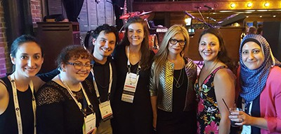 Left to right: Natalia Holtzman, Stephanie Duchin, Korey Erickson, Erin Larson, ALA President Loida Garcia-Febo, Jaimie Albanese, and Shatha Baydoun at the the international visitors reception, 2018 ALA Annual Conference, New Orleans, Monday, June 25