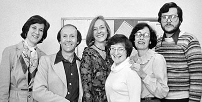 The American Libraries editorial staff, ca. 1978 Left to right: Susan S. Cherry, Arthur Plotnik, Edith McCormick, Constance Pacholski, Lois R. Pearson, Arlan G. Bushman