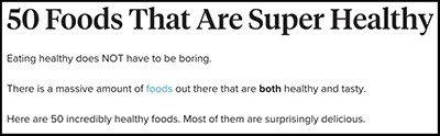 """50 Foods That Are Super Healthy,"" from Healthline"