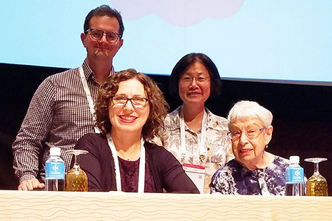 Clockwise from top left: Stephen Wyber, policy and advocacy manager.for IFLA; May Chang; Helga Schwarz; and Sandy Hirsh