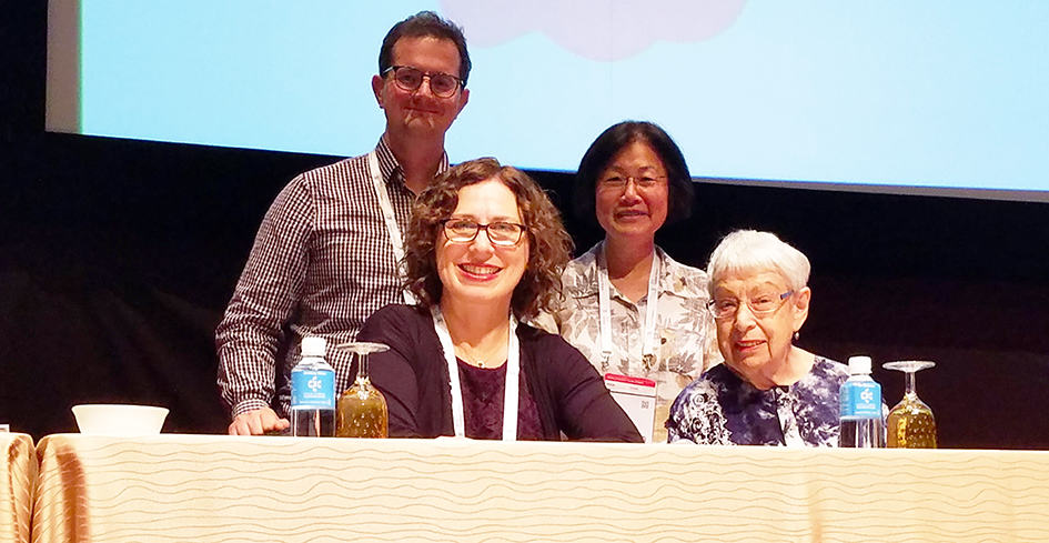 Clockwise from top left: Stephen Wyber, policy and advocacy manager for IFLA; May Chang; Helga Schwarz; and Sandy Hirsh.