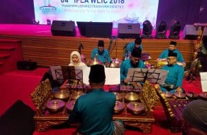 Gamelan musicians perform at the 2018 IFLA WLIC Opening Session in Kuala Lumpur, Malaysia.