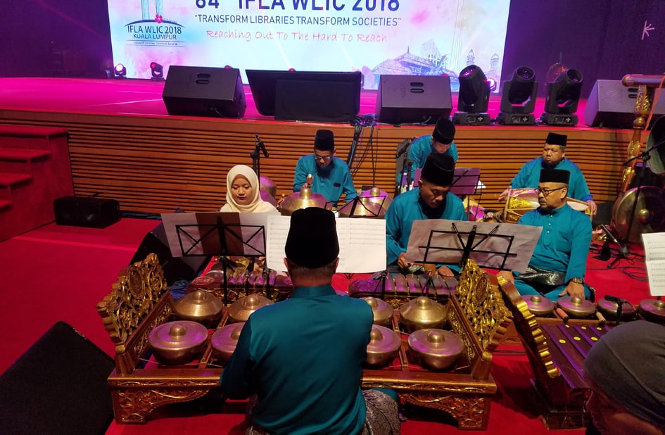 Gamelan musicians perform at the 2018 IFLA WLIC Opening Session in Kuala Lumpur, Malaysia.