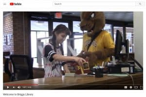 "Screenshot from University of Minnesota, Morris's ""Welcome to Briggs Library,"" featuring the school's cougar mascot, Pounce."