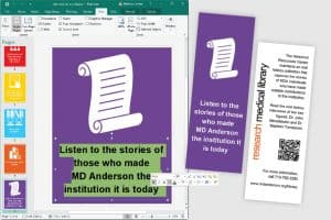 April Aultman Becker, dean of library and research technologies at Sul Ross State University in Alpine, Texas, used Microsoft Publisher to design this series of bookmarks in her previous role as education coordinator at Houston's MD Anderson Cancer Center Research Medical Library.