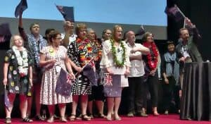 New Zealand delegates sing a traditional Maori song to welcome IFLA members to Auckland for WLIC 2020.