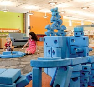 Children play with the Imagination Playground blocks at Arlington Heights (Ill.) Memorial Library.