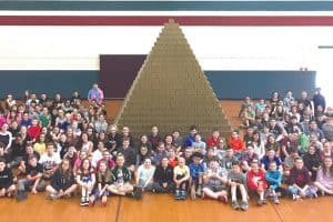 Students at Overlook Middle School in Ashburnham, Massachusetts, built a pyramid with EverBlock bricks.