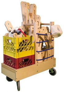 All pieces in the Rigamajig Basic Builder Kit can be packed into the included cart.