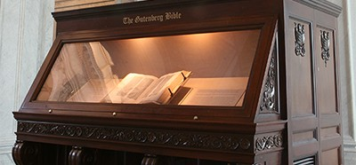 The Library's Gutenberg Bible in its current display in the Great Hall of the Thomas Jefferson Building. Photo by Michaela McNichol
