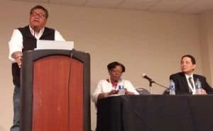 """From left, Milton Bluehouse Jr., Cassandra Allen, and Corey Garza present """"Environmental Justice @ Your Library and in Your Community,"""" a September 29 session at the third National Conference of Librarians of Color in Albuquerque, New Mexico."""