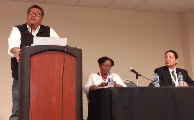 "From left, Milton Bluehouse Jr., Cassandra Allen, and Corey Garza present ""Environmental Justice @ Your Library and in Your Community,"" a September 29 session at the third National Conference of Librarians of Color in Albuquerque, New Mexico."