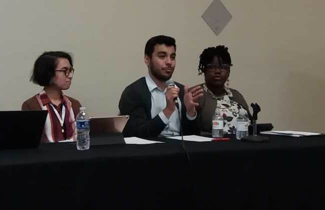 From left, Kalani Adolpho, Jesus Espinoza, and Twanna Hodge discuss academic library residency programs during the National Joint Conference of Librarians of Color in Albuquerque, New Mexico.