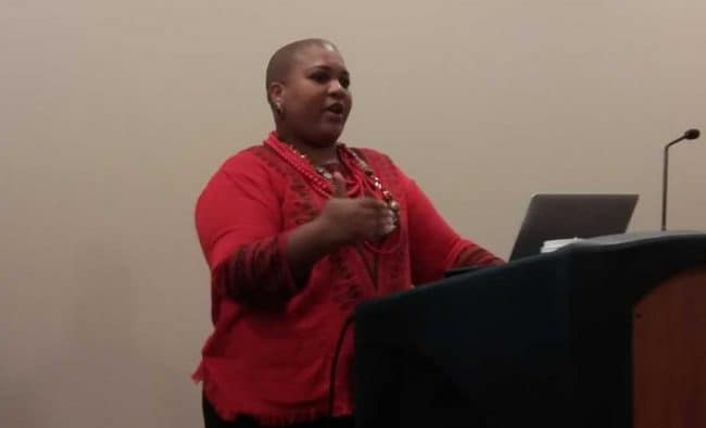 Ana Ndumu, PhD postdoctoral researcher at University of Maryland iSchool, presented her findings on the obstacles black immigrants face in public libraries at the National Joint Conference of Librarians of Color in Albuquerque, New Mexico on September 28.
