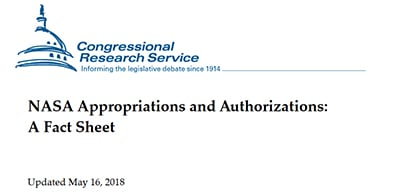 Congressional Research Service fact sheet on NASA appropriations