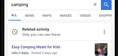 The new Related Activity Card appears as a thin strip above your results