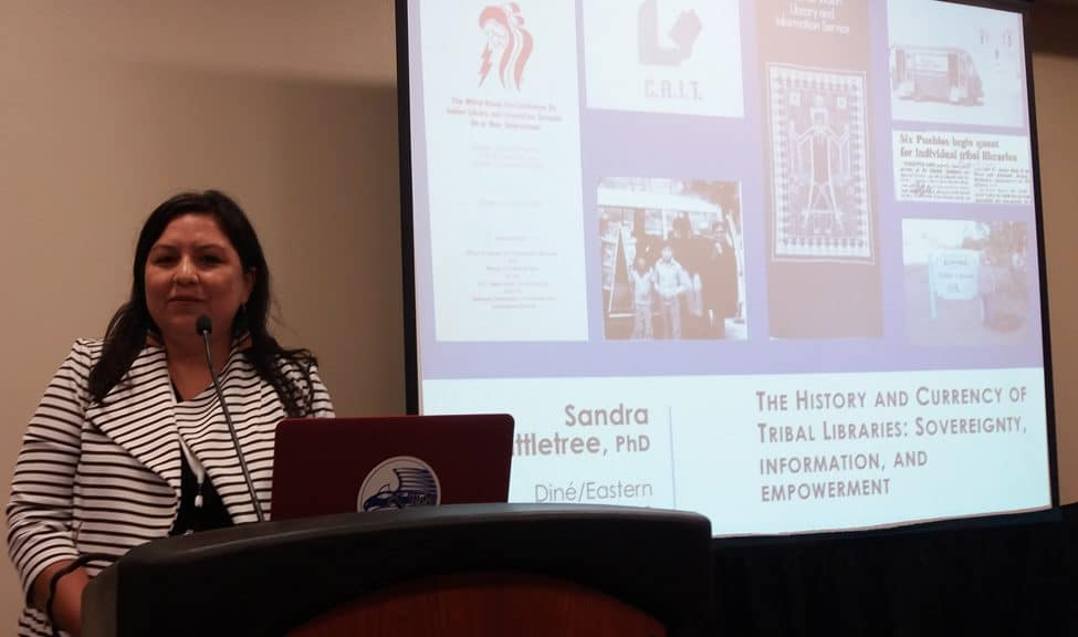 "Sandy Littletree, PhD candidate at University of Washington and 2011–2012 president of the American Indian Library Association, discusses ""The History and Currency of Tribal Libraries: Sovereignty, Information, and Empowerment,"" a September 27 session at the third National Joint Conference of Librarians of Color in Albuquerque."