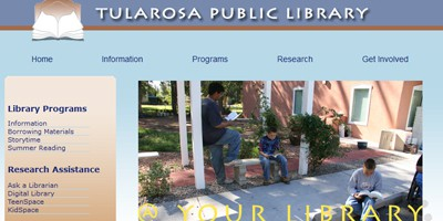 Top portion of the Tularosa Public Library website