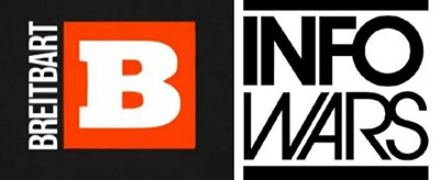 Breitbart and InfoWars logos