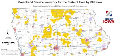 Broadband service industry for the state of Iowa by platform