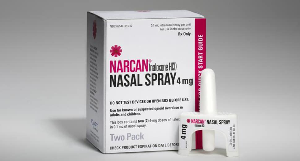 Anti-opioid overdose Narcan Nasal Spray.