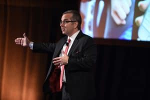 Skip Prichard addresses the crowd at the 2018 OCLC Americas Regional Council Conference on October 25 in Chicago. (Photo: OCLC)