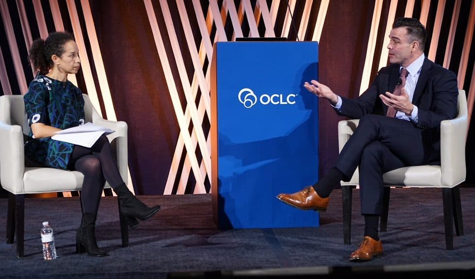 Louise Bernard, museum director of the Obama Presidential Center, speaks with Brian Bannon, commissioner and CEO of Chicago Public Library, at the 2018 OCLC Americas Regional Council Conference in Chicago.