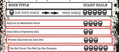 Horror booklist, including the scary scale ranking system