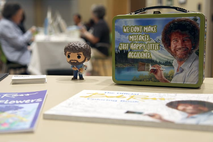 Bob Ross collectible items at Chesterfield County (Va.) Public Library's Bob Ross Paint Night Photo: Chesterfield County Public Library