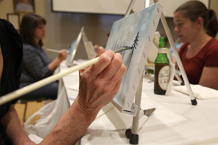Painting in progress at Chesterfield County (Va.) Public Library's Bob Ross Paint Night Photo: Chesterfield County Public Library