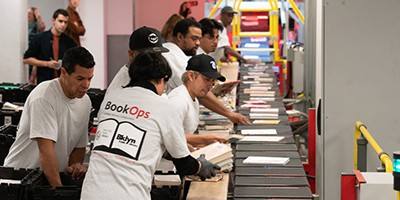 The New York BookOps team at the Lyngsoe Systems sorter
