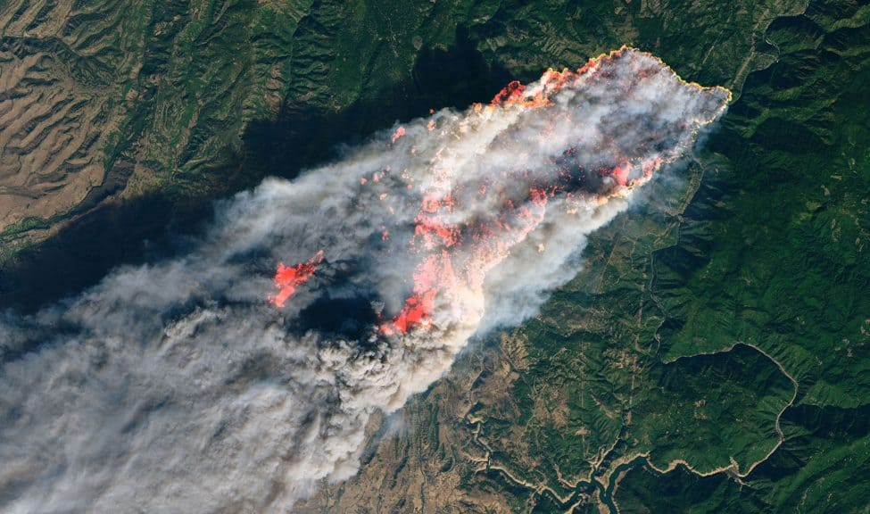 The Camp Fire in Northern California, as viewed by NASA's Landsat 8 on November 8. Photo: NASA