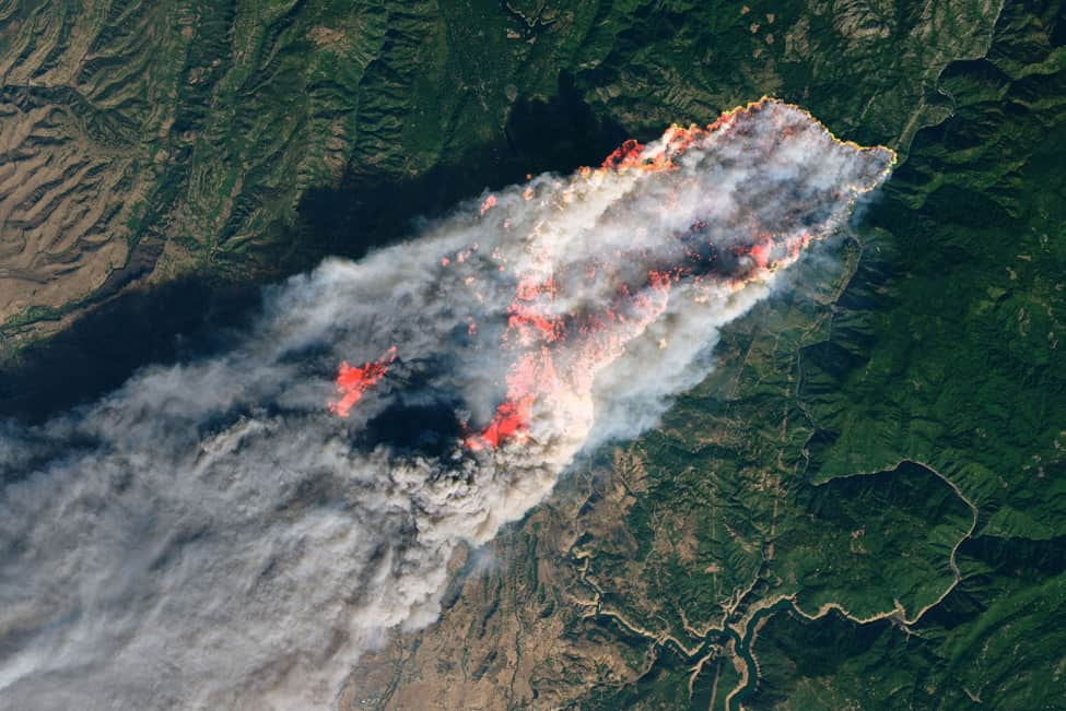 The Camp Fire in Northern California, as viewed by NASA's Landsat 8 on November 8. Photo: NASA