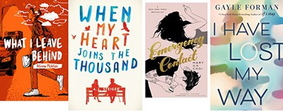 Covers of What I Leave Behind, by Alison McGhee; When My Heart Joins the Thousand, by A. J. Steiger; Emergency Contact, by Mary H. K. Choi; and I Have Lost My Way, by Gayle Forman
