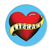 Love My Library tattoo magnet, ALA Graphics