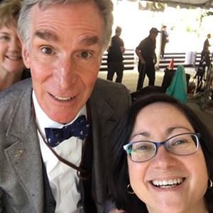 Librarian Sally Stieglitz with Bill Nye at the InSight Mars Landing Social. (Photo: Sally Stieglitz)