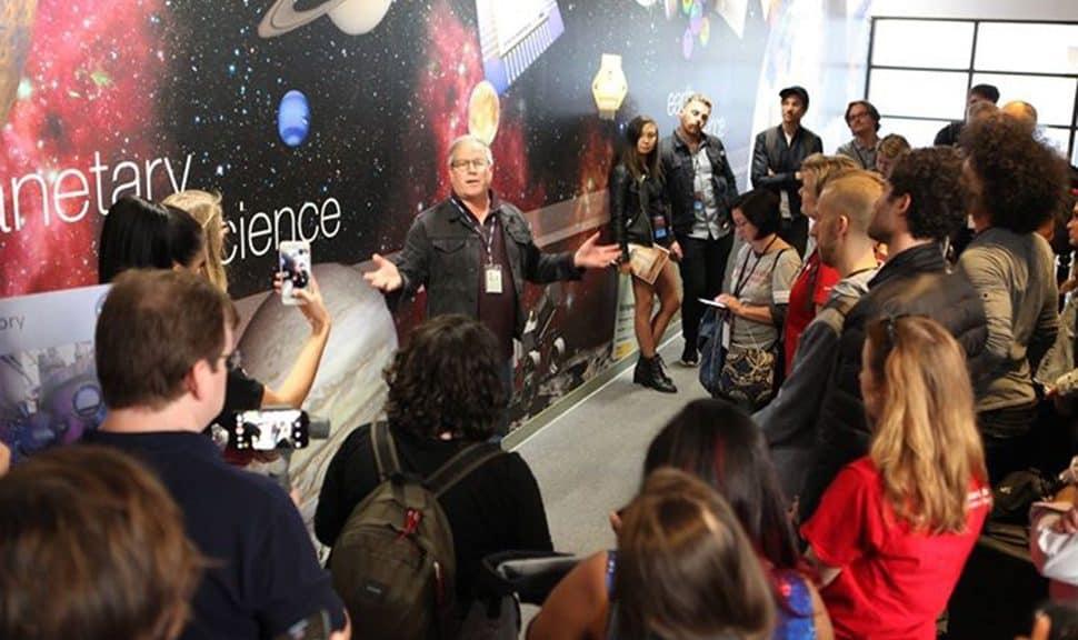 NASA socialites tour the Jet Propulsion Lab's Microdevices Lab, covering the visit through their social media platforms. (Photo: NASA/JPL)