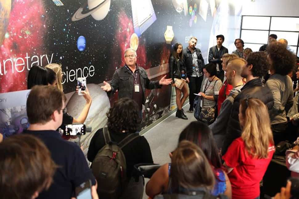 NASA socialites tour the Jet Propulsion Lab's Microdevices Lab, covering the visit through their social media platforms. (Photo: NASA/JPL)